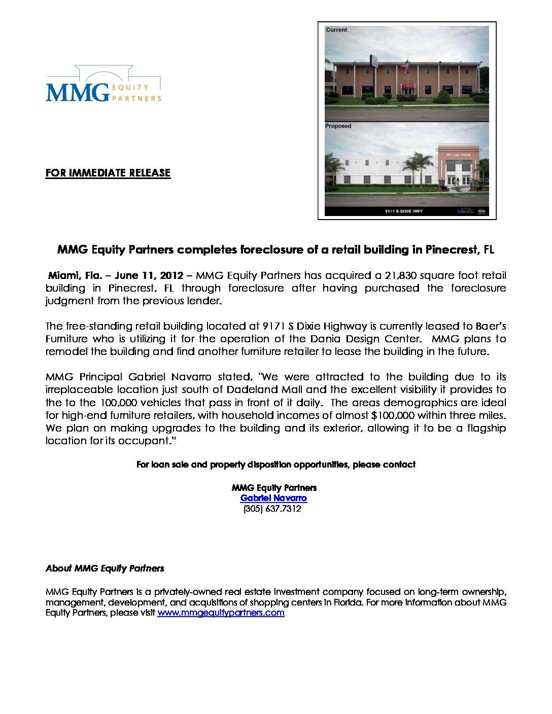Press-Release-Pinecrest-Foreclosure