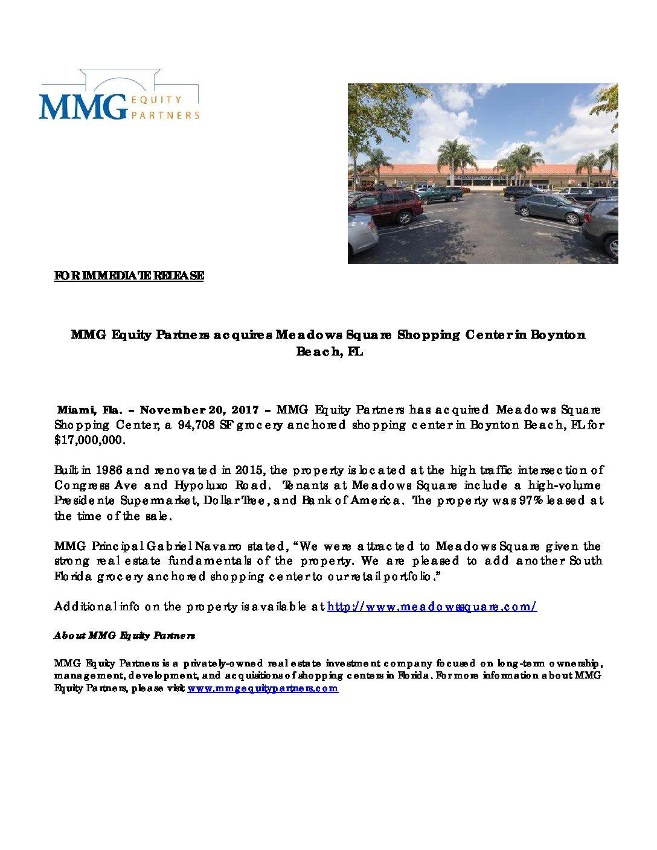 PR – MMG Acquires Meadows Square Shopping Center in Boytnon Beach for $17M