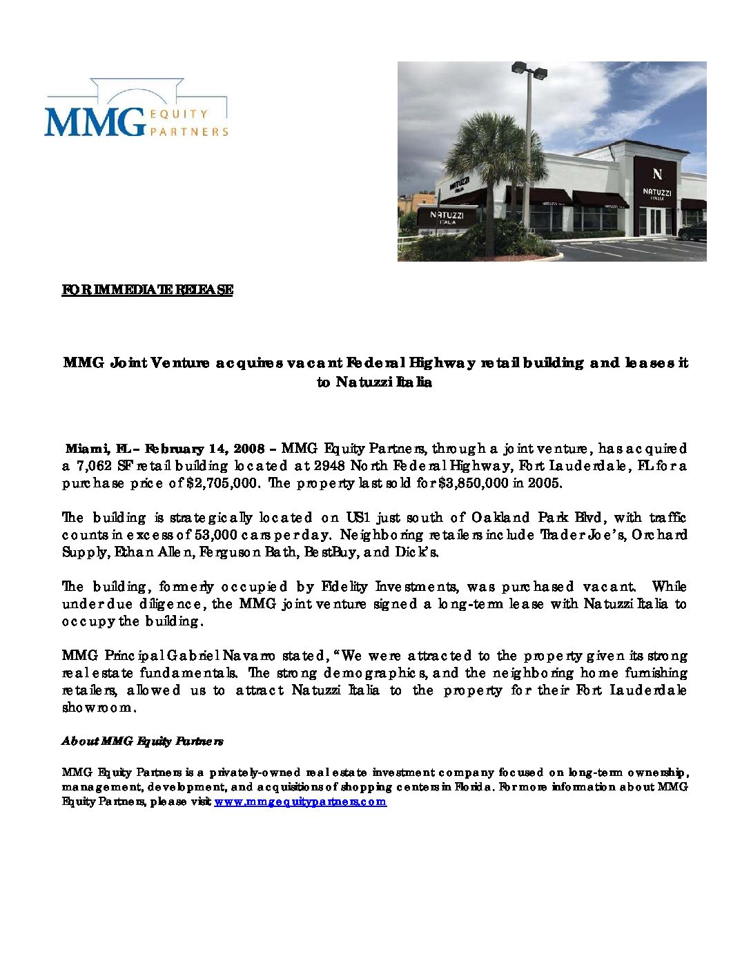 MMG Acquires FLL Retail Building and leases it to Natuzzi SpA