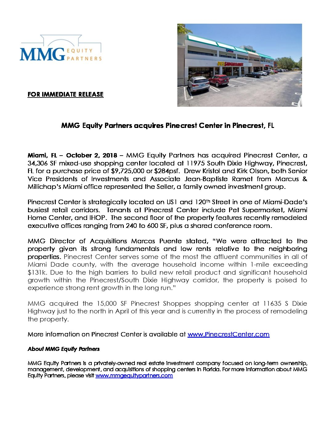 Press Release – MMG Acquires Pinecrest Center