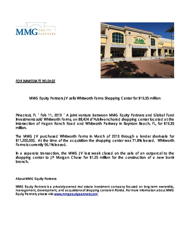 PR – MMG Whitworth Farms Sale